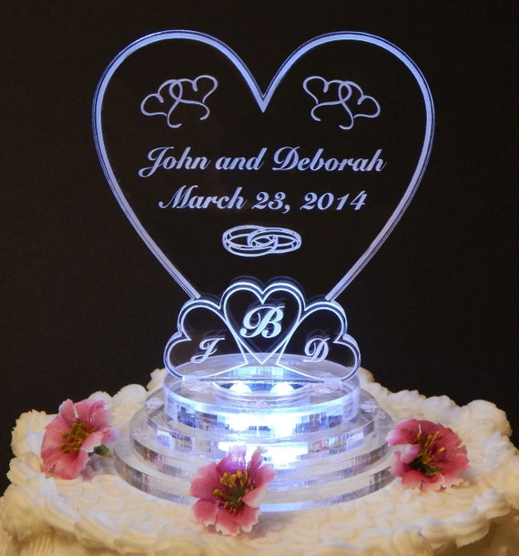 wedding cake toppers light up lit personalized monogram wedding cake topper top 26521