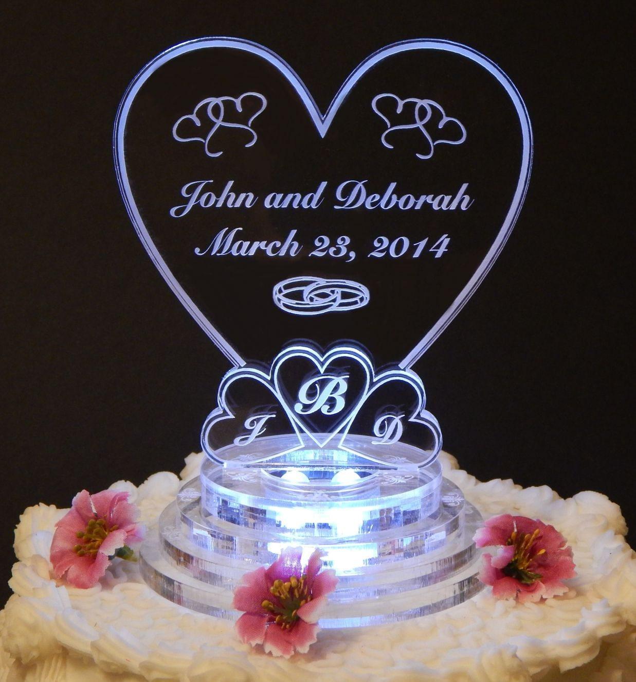 lit personalized monogram heart wedding cake topper top
