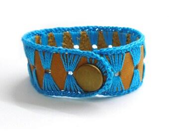 Leather Cuff Bracelet For Woman, Western Bracelet, Cowgirl Bracelet, Genuine Leather, Leather and Lace, Turquoise Bracelet, Crochet Bracelet