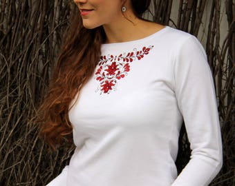 Embroidered Transylvanian (székely) sweater- White/red