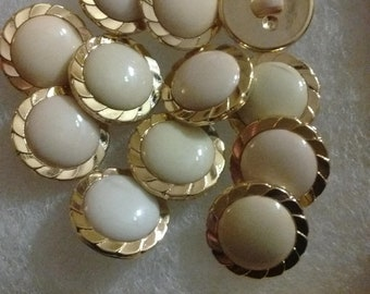 12 Round Pearl Centered color, gold trimmed buttons