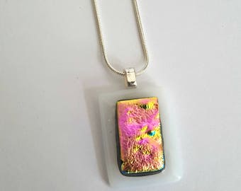 """Pendant Necklace,Fused Glass,Pink Pendant,White Opal,Pink Tinted,Dichroic Jewelry,Dichroic,Handcrafted Jewellery,16"""" 925 Sterling Silver"""
