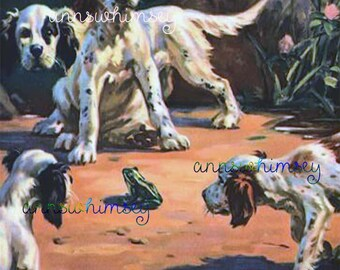 "Dog Art Print ""Center of Attention"" #Dogs Inspect Frog,  Nursery Art, Kitcheb Art, Child's Room Art #520"