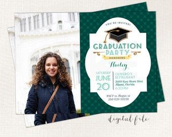 Graduation Announcement, College Graduation Printable Grad photocard, Class of 2017 invite, Graduation invites, Graduation party invitation