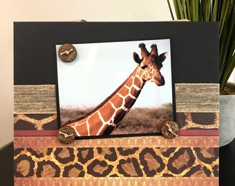 Exotic Animal Print Africa -  Magnetic Picture Frame Handmade Gift Present Home Decor by Frame A Memory Size 9 x 11 Holds 5 x 7 Photo