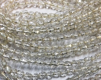 Silver Lined Transparent Preciosa Czech Glass Fire Polished Crystal Beads 4mm 50 beads