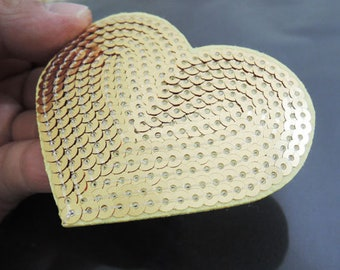 Iron on Patch - Metallic Gold Heart Patch Love Large Patches Iron on Applique Embroidered Patch Sew On Patch
