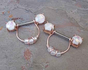 Opal Glitter Rose Gold Nipple Ring Nipple Piercing