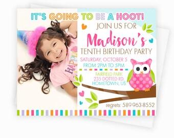 Pink Polka Dot Owl Party Photo Invitation - Owl on Branch Birthday Invitation - 5x7 Custom Owl Party Invitation, Owl Baby Shower