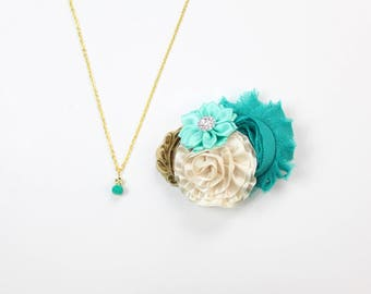 Teal and Gold Hair Clip and Charm Necklace