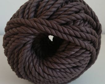 Cotton cord. Twisted cotton cord. Cotton rope. Macrame rope - spool of 100% cotton rope - 8 mm - chocolate brown.