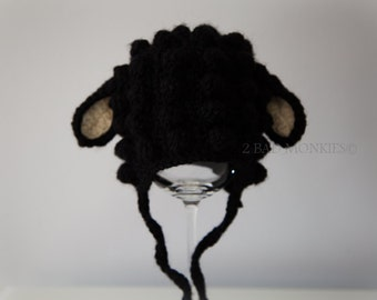Black Sheep Hat, Lamb Hat, Baby lamb hat, newborn lamb hat, Black lamb hat, Halloween costume, Adult Lamb hat