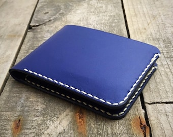 Personalised Kangaroo Leather Bifold Wallet, Blue Leather Wallet, Bifold Wallet, Billfold Wallet, Mens Leather Wallet, Mans Leather Wallet