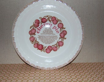 Vintage Royal China  Cherry Deep Dish Pie Plate with Recipe  ~ Jeanette USA