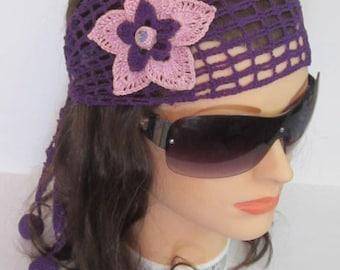 Purple Summer Headband, Flower Boho Head wrap Summer Head band, Boho Hippie Headband Adult Flower Beach Headband, Lace Wide headband