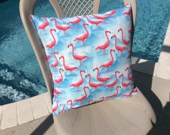 Flamingo Pillow Cover 16x16 -  Tropical Pillow Cover - Nautical Pillow Cover - Beach themed Pillow Cover