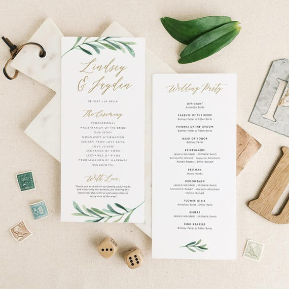 Greenery Wedding Programs Template Printable Wedding Program - Wedding invitation templates: wedding program template word