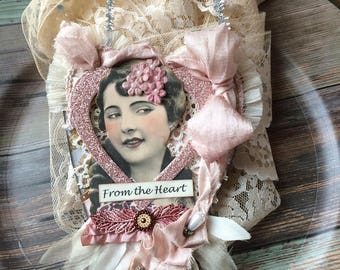 Pink Victorian Heart Ornament - Mom Heart Decoration - Mother's Day Heart Gift