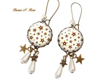 Stars cabochon earrings white stars