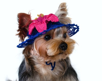 """Hat for dog """"Rhododendron"""", Dog Sun Hats, Party Hats For Dogs, Crochet Hat For Dog, Dog Beanies, Doggy Hats, Knit Dog Hat"""