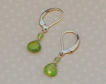 Green Peridot Earrings, August Birthstone, Gold Leverback, Peridot Jewelry, Small Dangle Earrings