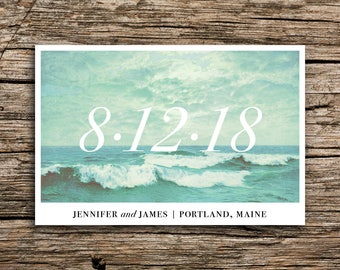 Minimalist Waves Save the Date Postcard // Destination Wedding Save the Date Pacific Atlantic Surf Postcards Maine Boston New Jersey Seattle