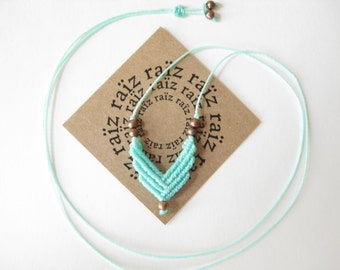 Small Chevron Necklace . Micro Macrame . Turquoise Adjustable Pendant . Modern Elegant Dainty Geometric Jewelry Boho Chic