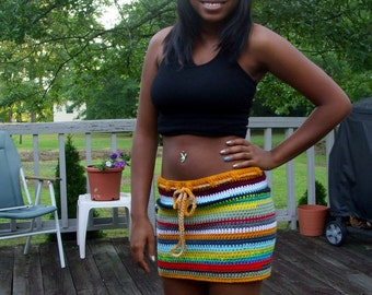 Crochet Multi Colors Mini Skirt, Festival Skirt, summer crochet skirt, beach cover-up, Festival Wear, Crochet Mini Skirt - Touch of GOLD