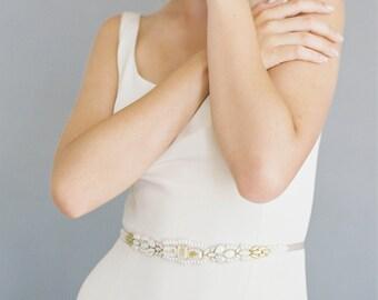 "Ivory and gold beaded wedding belt ""Kerry"""