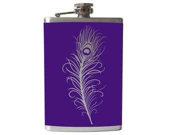 Peacock Feather Flask- alcohol, liquor, booze, wedding, bridal party, hip pocket- Personalized Custom - YOU pick COLOR