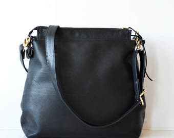 Black Leather hobo bag / Leather crossbody bag / Leather bag / Leather zipper hobo bag / Soft camel leather bag /  Black Leather Hobo bag