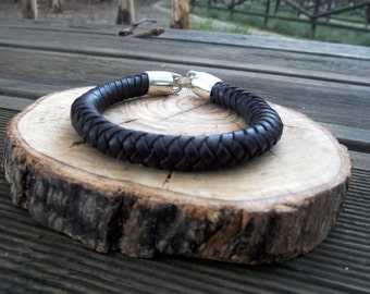 Bracelet Braid Leather,  Bracelet Man, Bracelet Woman, Bracelet Eight braid, Bracelet Girl, Bracelet Boy, Bracelet Leather, Bracelet