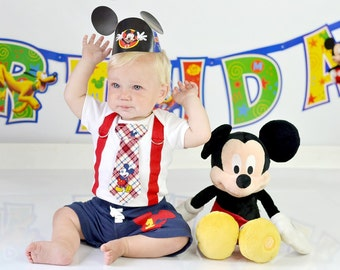 Mickey Mouse Birthday Tie and Suspender Bodysuit with Shorts Baby Boy First Birthday Disney Clothing Birthday Party Little Man Tie Outfit