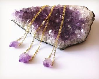 Crystal necklace, Raw amethyst necklace, Amethyst necklace, Crystal pendant necklace,Gift for her, Healing crystal, February birthstone