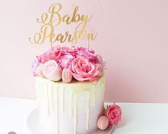Custom Baby shower cake topper |  Baby reveal cake | Christening cake topper | Personalised cake topper | Gold baby shower cake topper