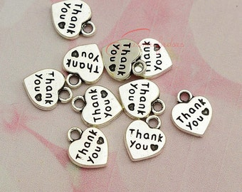 50PCS--12x10mm ,Heart Charms, Antique Silver Tone Thank you heart Charm pendant, DIY supplies,Jewelry Making