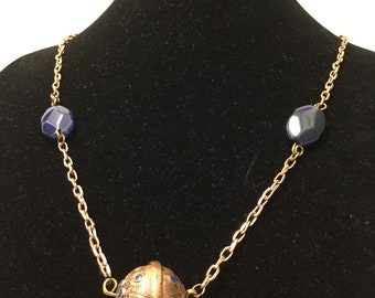 Long Rose Bronze Metal and Glass Bead Necklace