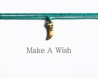 Make A Wish Tusk Bracelet - Bohemian Jewellery, Friendship Bracelet, Boho Bracelet, Yoga Gift, Wishing Charm