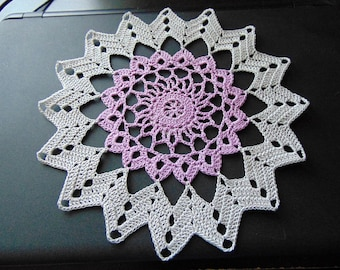 Star burst doily in gray and lavender