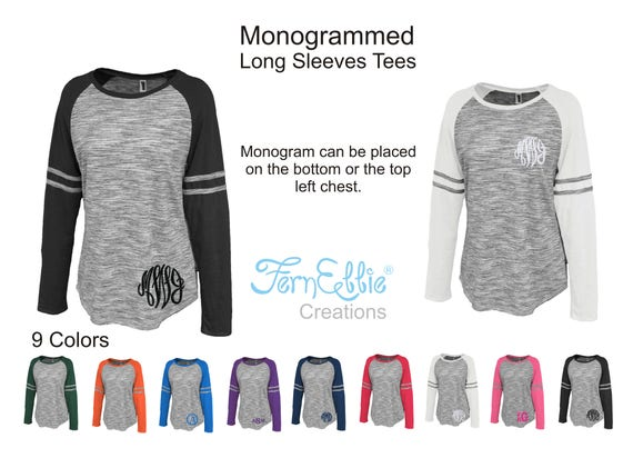 Monogrammed Long Sleeves Tees,  *Monogrammed T-Shirts*, Personalized T-Shirts, *Bridesmaids Gifts*, Embroidered T-Shirts.