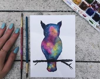 Galaxy owl - print