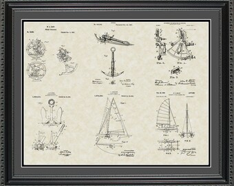 Nautical Patent Collection Print Sailing Boating Navy Gift PNAUT2024