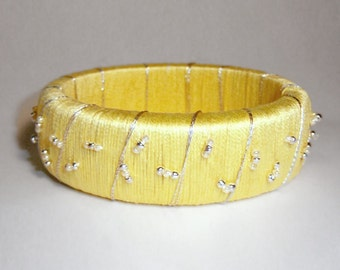 Yellow Beaded Bangle