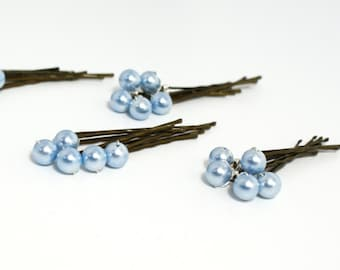 Something blue Hairpins, Bridesmaid Hair, Wedding Hairpins, Pearl Bobby Pins, Swarovski Hair Pins, Light Blue Set of 20, Prom Hairpins