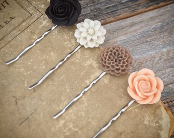 Neutral floral bobby pin set, flower hairpins, wedding hair accessories, hair accessories, floral hair accessories, Autumn Fall bobby pins
