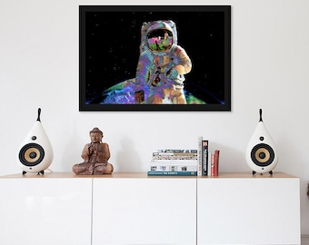 Psychedelic Art - Astronaut Space Framed Canvas Wall Art