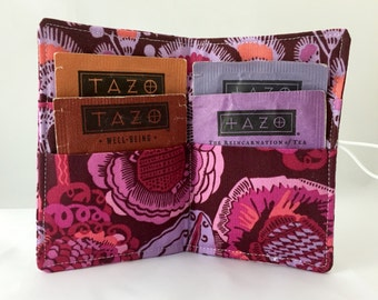 Tea Wallet - Tea Bag Wallet Tea Bag Case Tea Bag Holder Tea Holder Tea Bag Cozy Tea Bag Organizer Amy Butler Bright Heart Coco Bloom in Plum