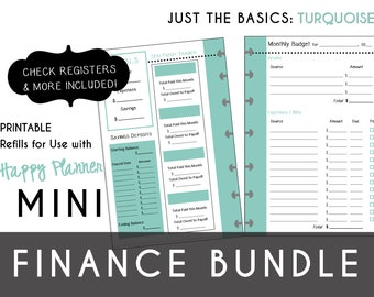 MINI Happy Planner FINANCE Bundle  Check Register, Monthly Budget, Debt Payoff Tracker, Debtor Contacts Passwords Printable PDF Turquoise