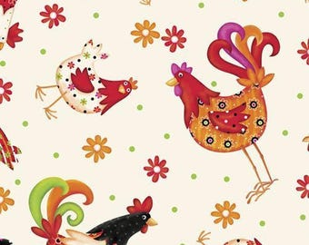 1649-24699-E PECKING ORDER TOSSED Chickens, Quilt Fabric, Quilting Treasures, Victoria Hutto, Bright Colored Chickens, Rooster, Baby Chicks