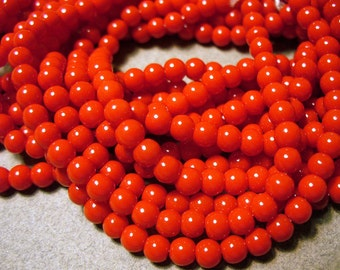 Glass Beads Red Round 4MM